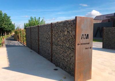 Gaviones, proyecto con gaviones, jaulas compactadas, Restaurante Antic Molí Ulldecona