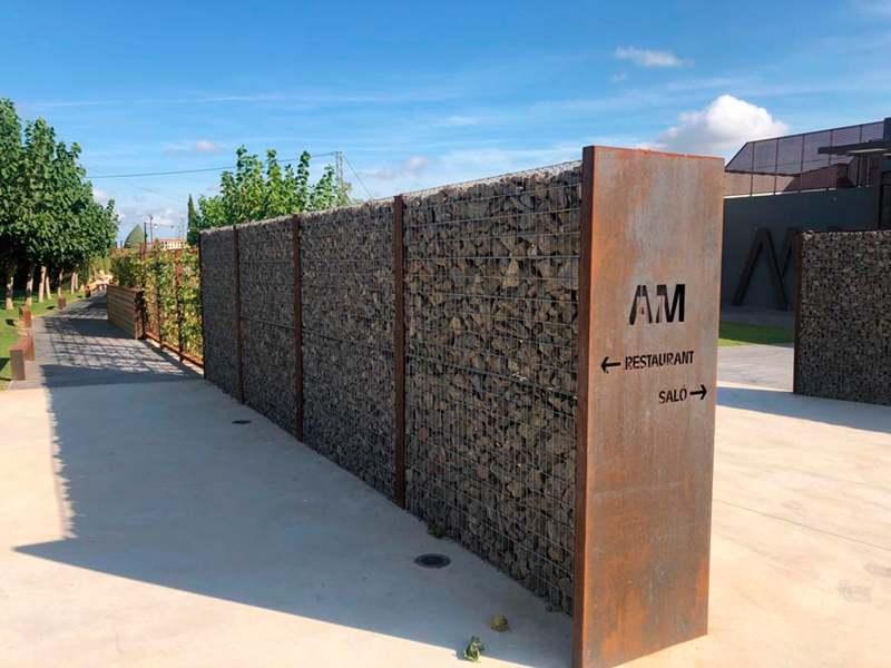 Gaviones, proyecto con gaviones, jaulas de piedra compactadas, Restaurante Antic Molí Ulldecona